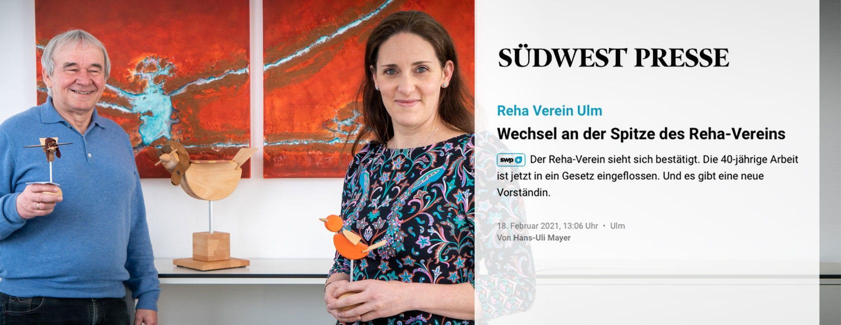 Wechsel an der Spitze des RehaVereins, ein Artikel der SWP Ulm im Februar 2021